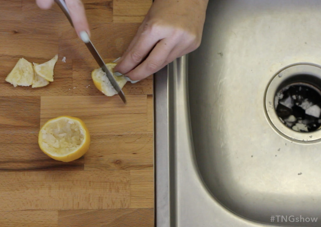 Freshen the garbage disposal with lemon from The Normal Girl Show